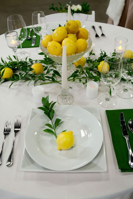 Lemon theme tablescape at the 2017 Durango Wedding Expo