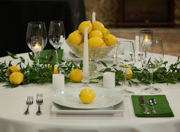 Lemon theme Tablescape | Durango Wedding Expo, Durango, Colorado