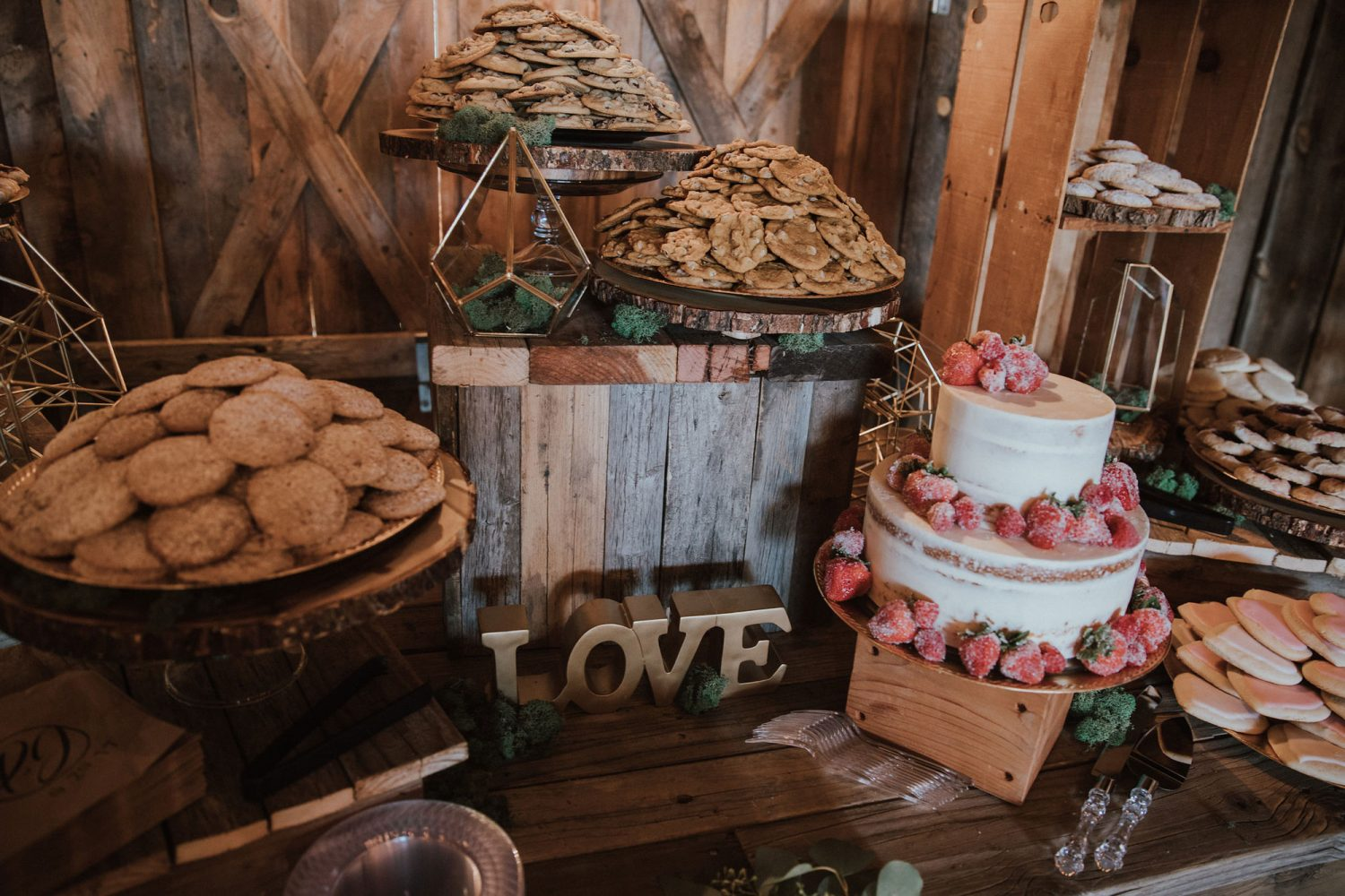 Rustic glam dessert spread from a ranch wedding in New Mexico