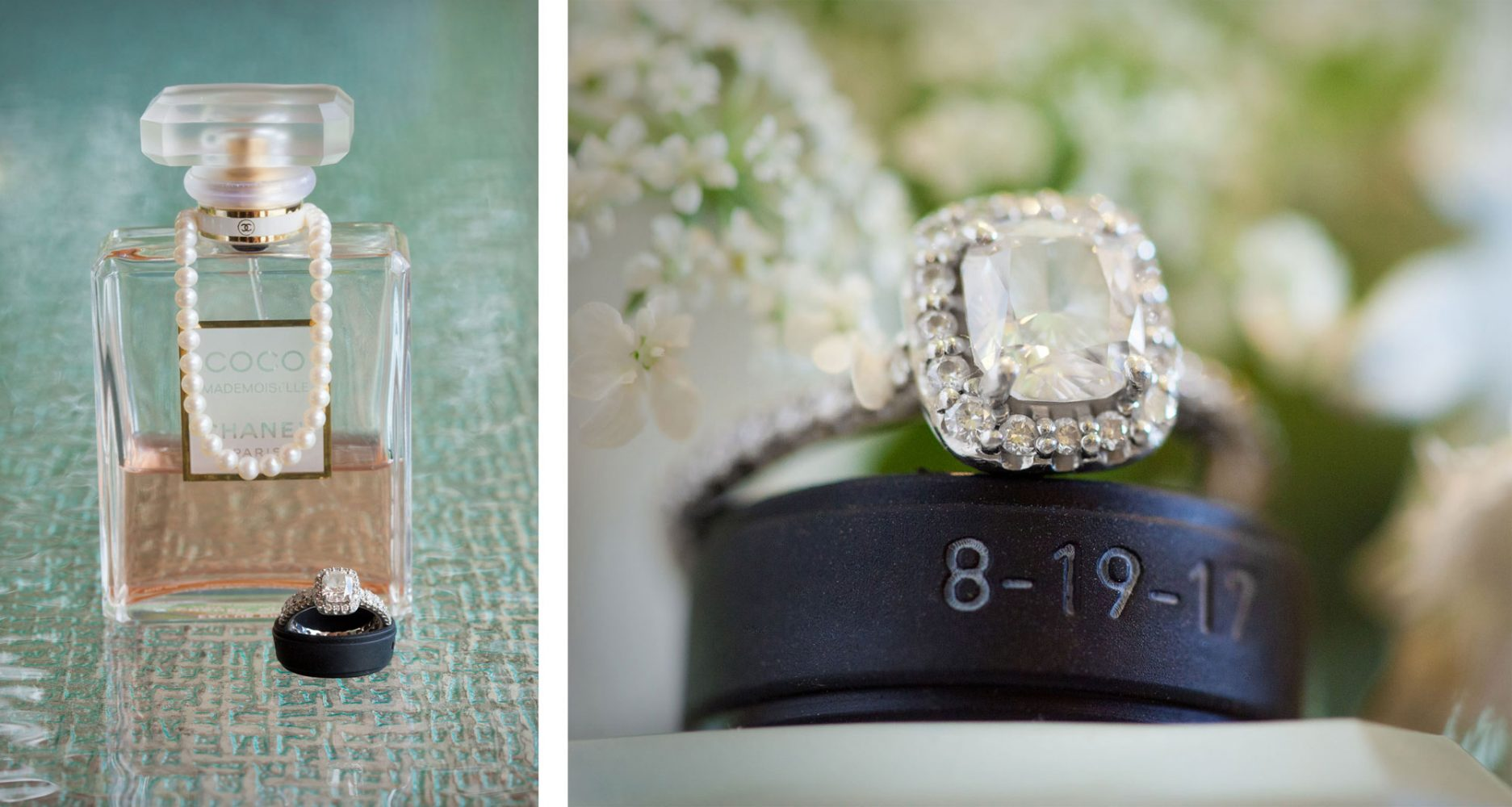 Ring and COCO channel perfume from a Backyard wedding in Durango, Colorado