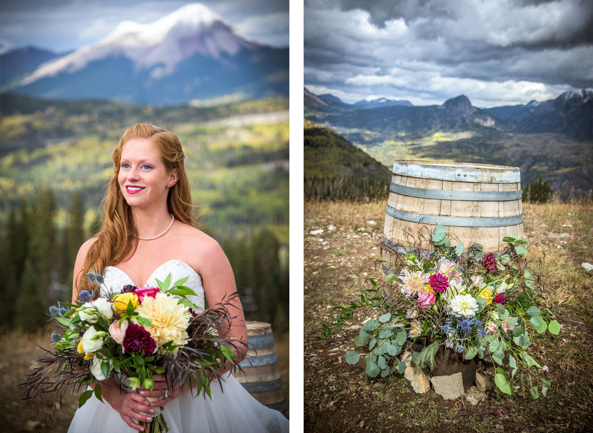 Gorgeous bridal bouquet on Durango Mountain, Pugatory Resort, Durango CO