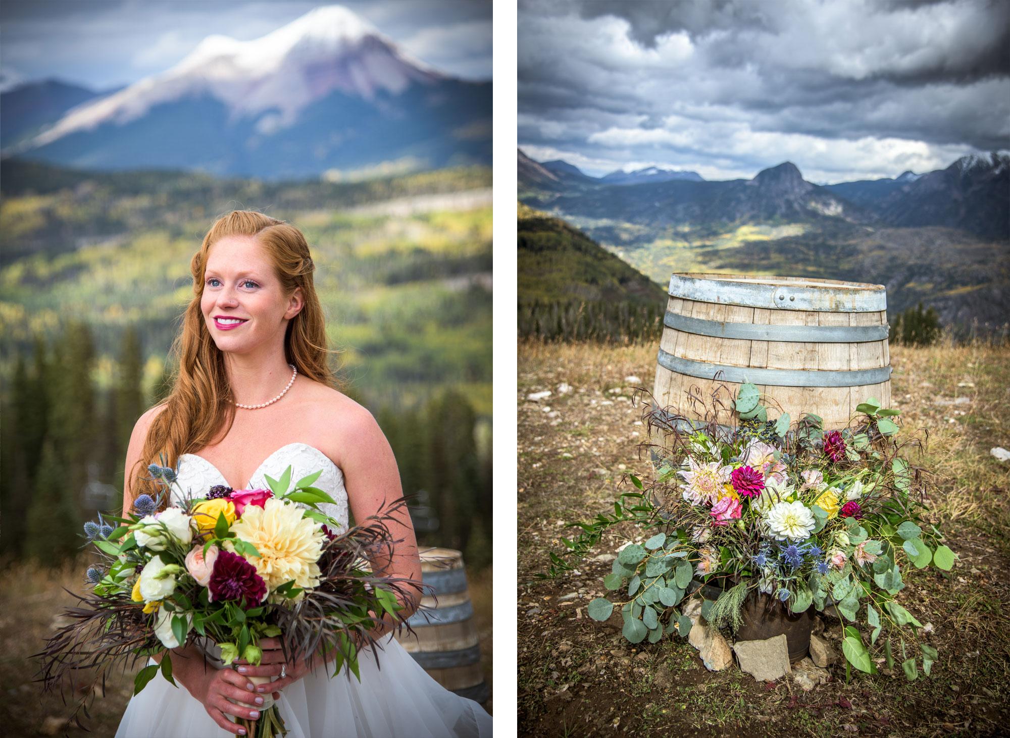 Gorgeous bridal bouquet on Durango Mountain, Pugatory Resort, Durango CO