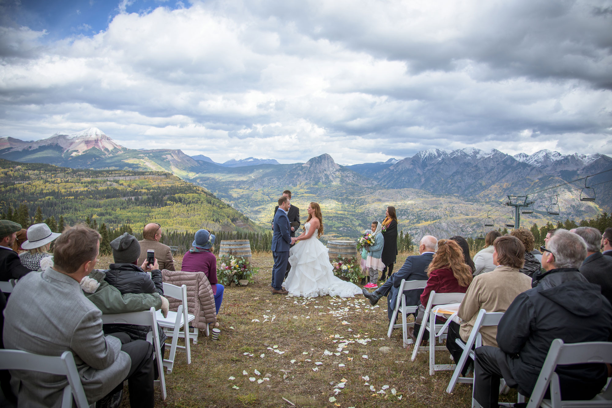 Ceremony at the top of lift one at Purgatory Resort, Durango, Colorado