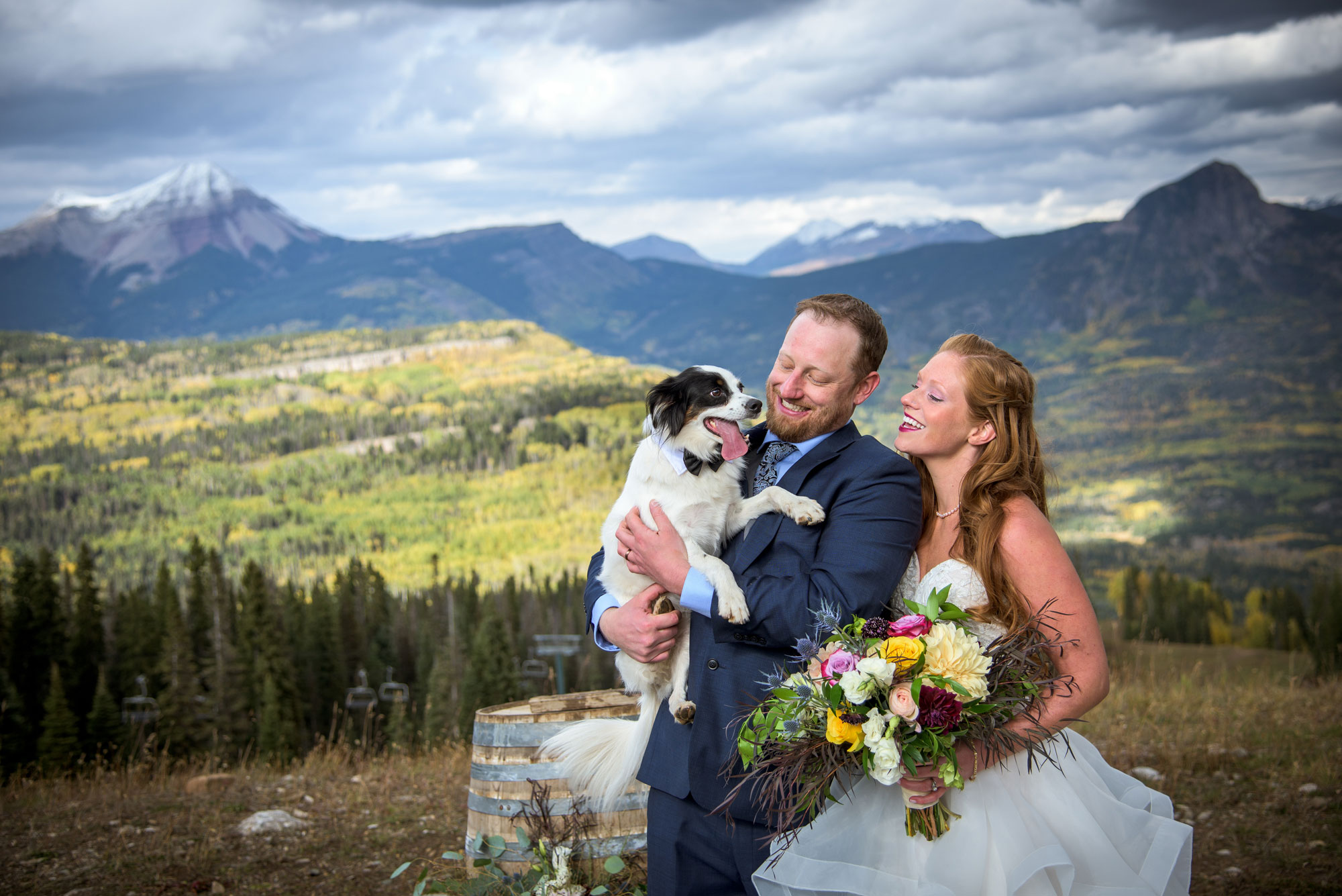 Bride, groom and dog at Purgatory Resort, Durango, Colorado