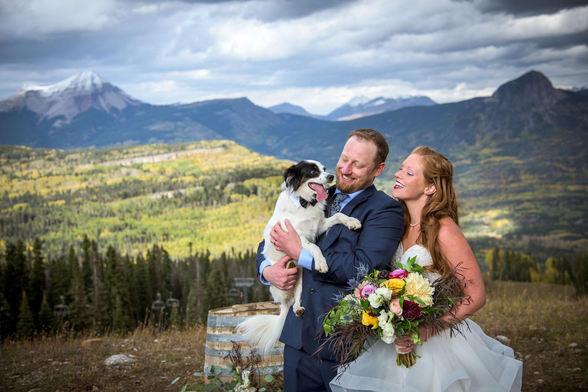 Bride, groom and dog at Purgatory Resort, Durango, Colorado