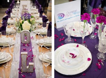 Tablescape by Durango Party Rental at the 2018 Durango Wedding Expo, Durango CO