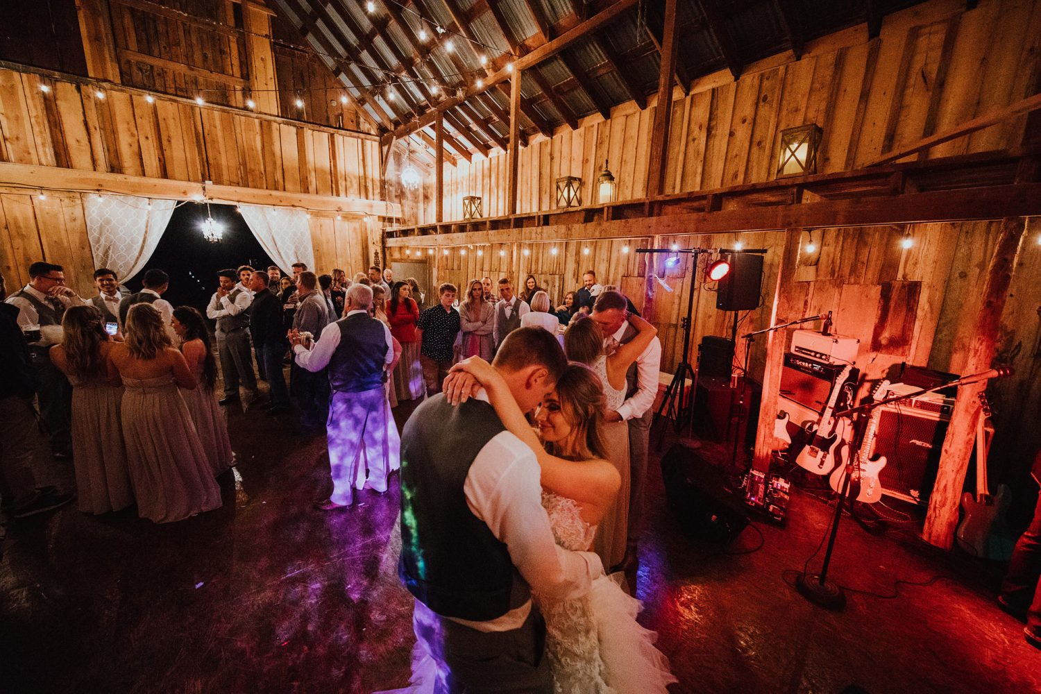 Barn dancing at a rustic ranch wedding in New Mexico