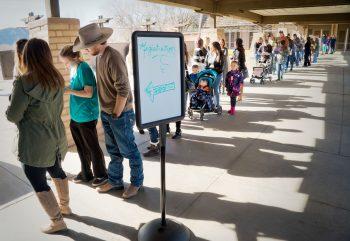 The line to enter the 17th annual Durango Wedding Expo
