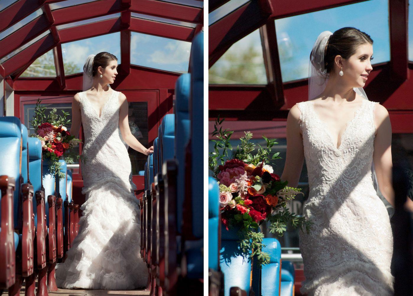 Bride on the Durango-Silverton train in Durango, Colorado
