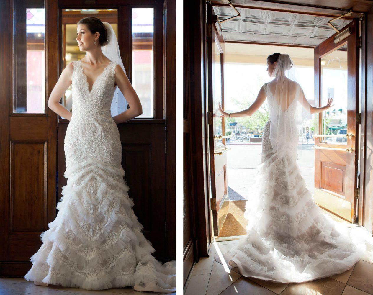 Bride win her wedding gown in Durango, Colorado