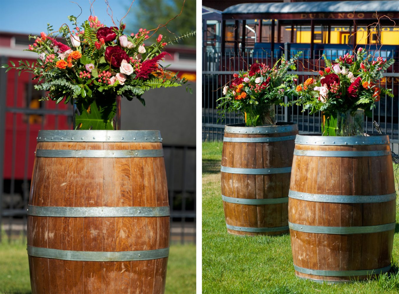 Gorgeous ceremony with wedding bouquets from April's Garden weddings, Durango, Colorado