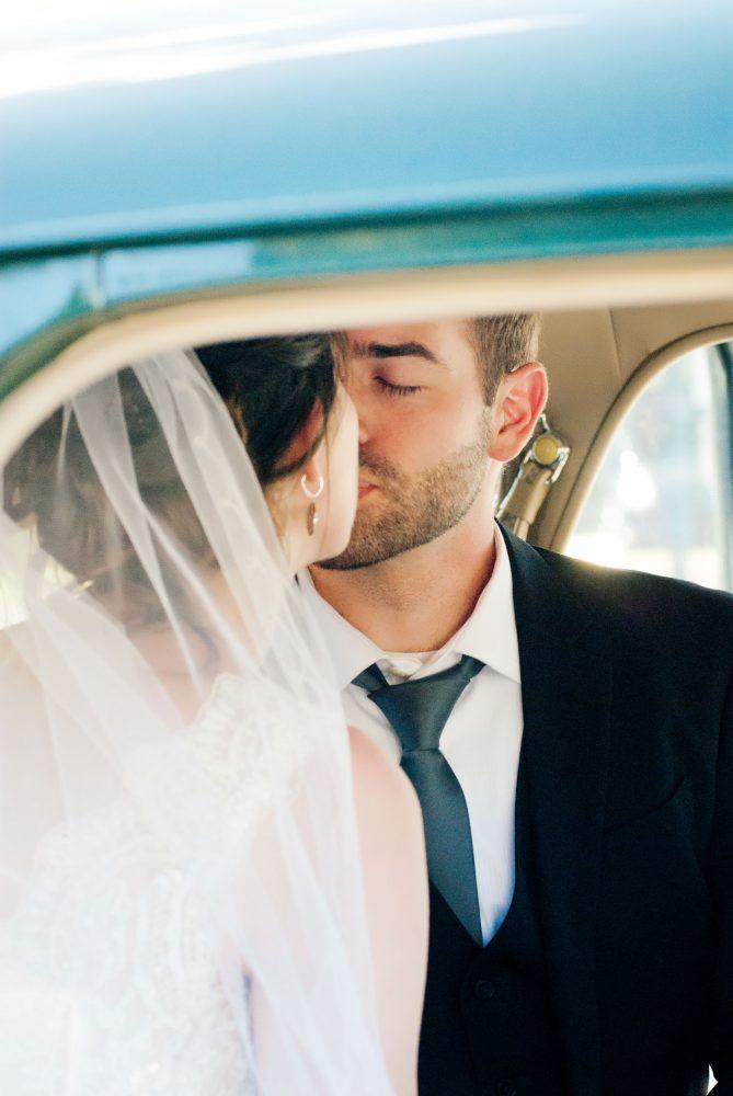 Durango Colorado wedding couple in a vintage car