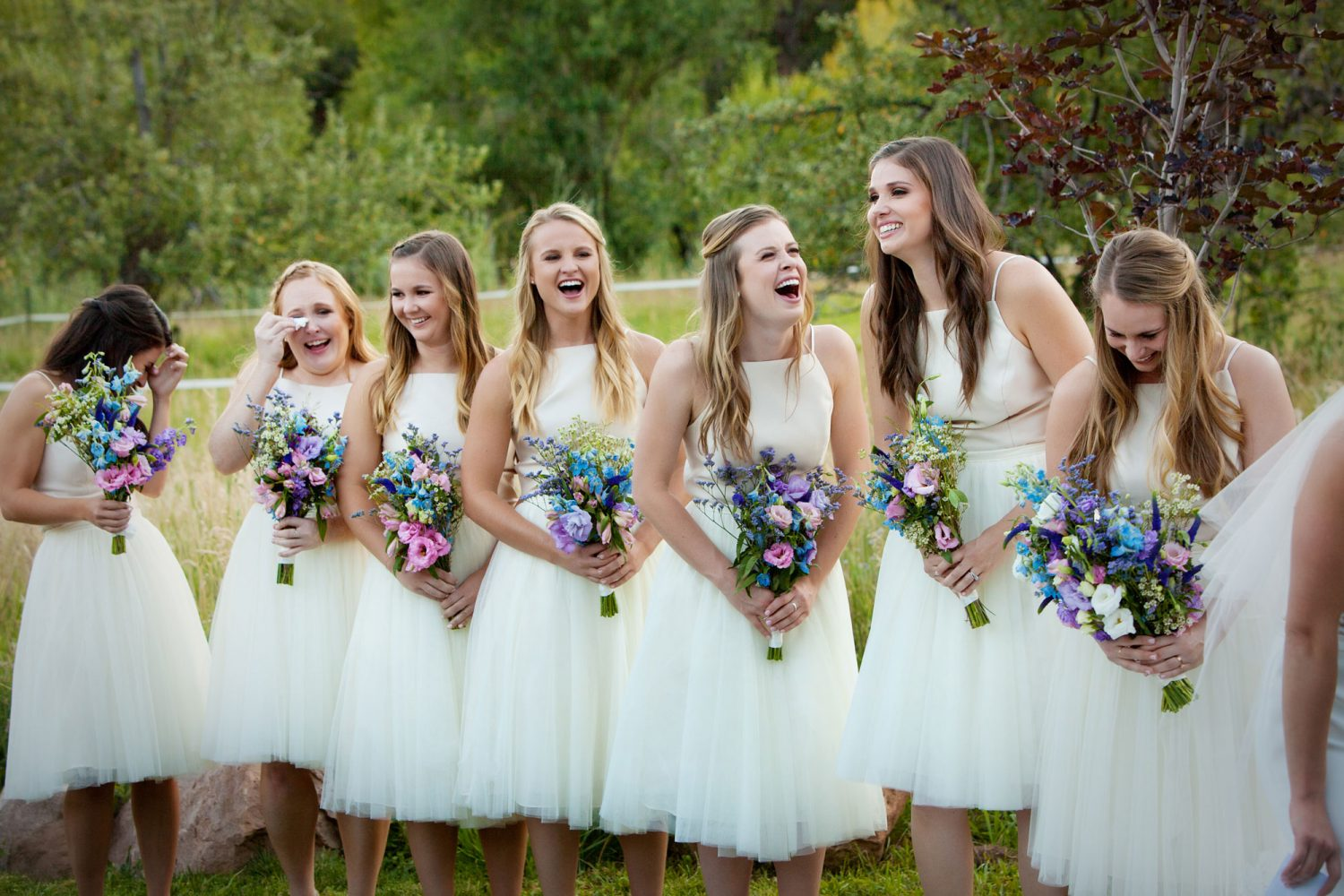 Bridesmaids from a Backyard wedding in Durango, Colorado