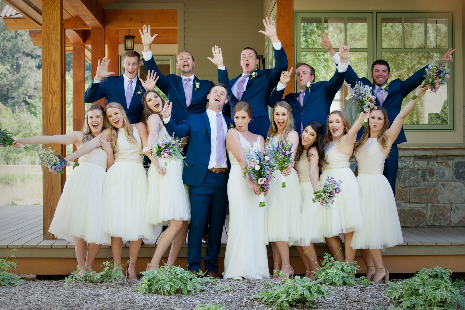 A happy wedding party from a backyard wedding in Durango, Colorado