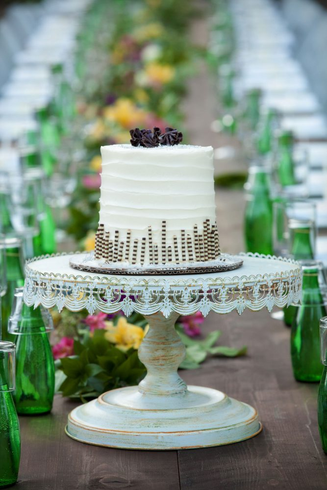 Cake from a backyard reception on the lawn in the Animas Valley of Durango, Colorado