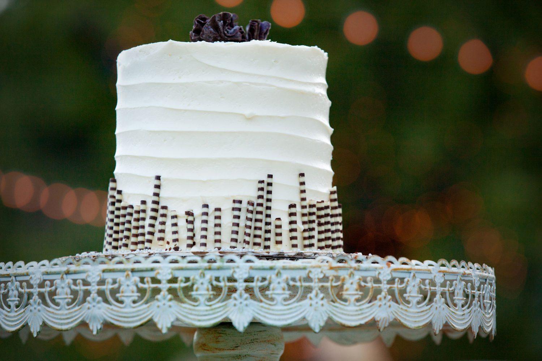 Cake from a backyard reception on the lawn in the Animas Valley of Durango, Colorado
