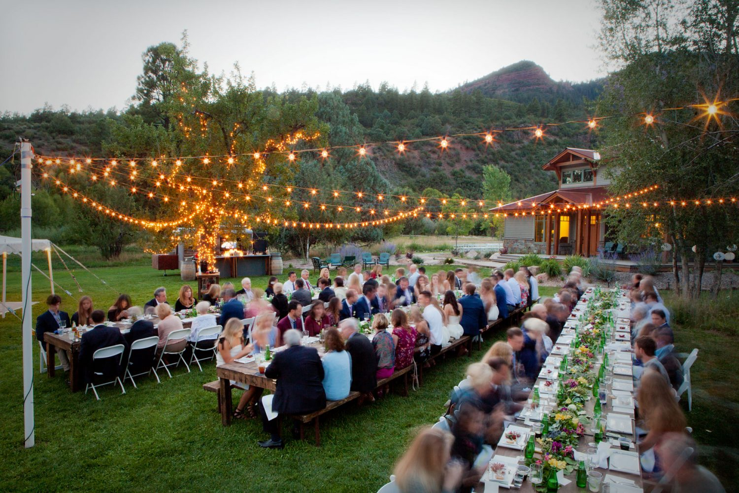 A backyard reception on the lawn in the Animas Valley of Durango, Colorado