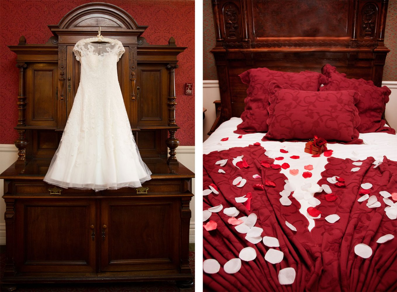 Wedding Dress in the honeymoon suite at the Historic Strater Hotel