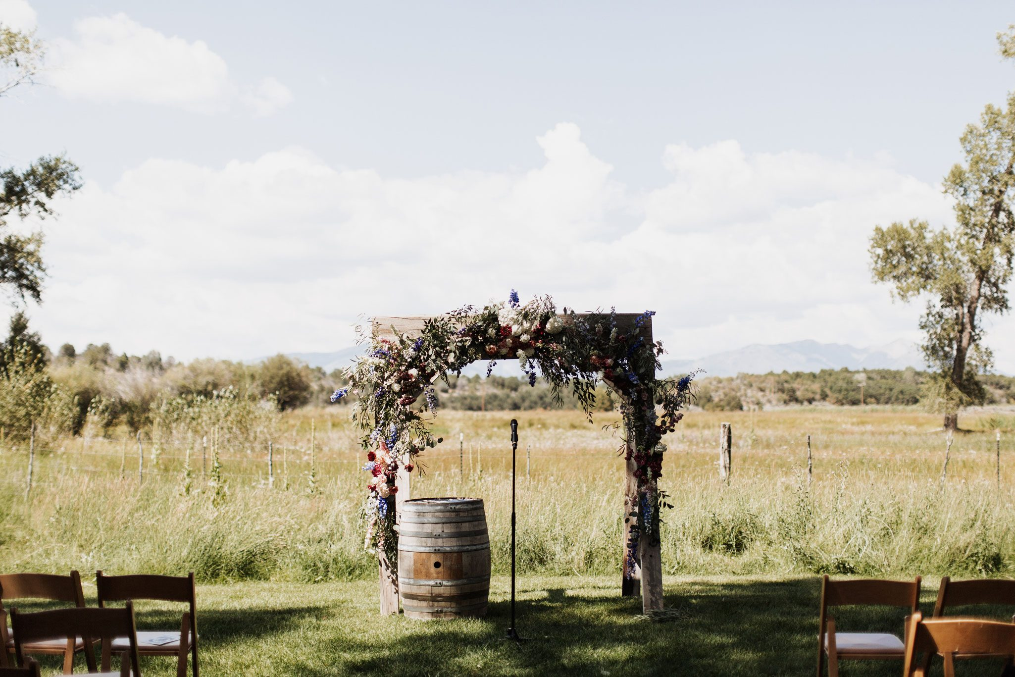 Wedding ceremony arch at Ridgewood Event Center, Durango Colorado
