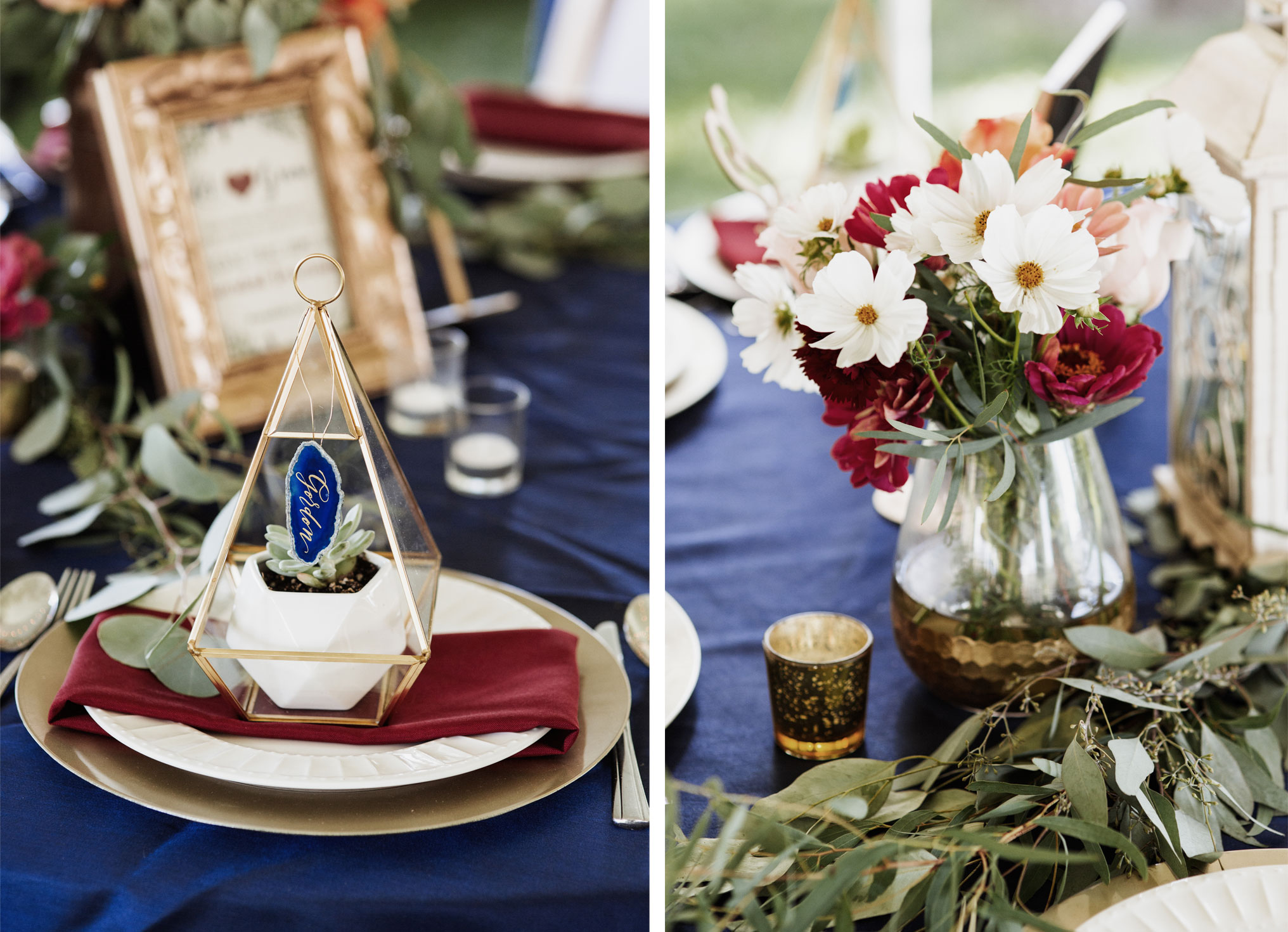 Place settings with geometric gold terrariums with a potted succulent, each has the guest's name calligraphed on a palm sized blue agate slice that hung from the terrarium