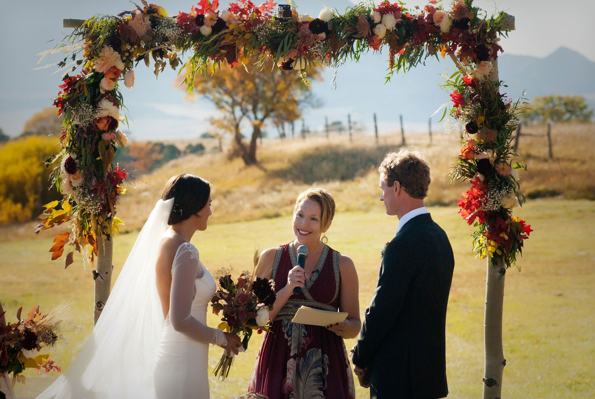 Fall outdoor ceremony in a field in Mancos, Colorado