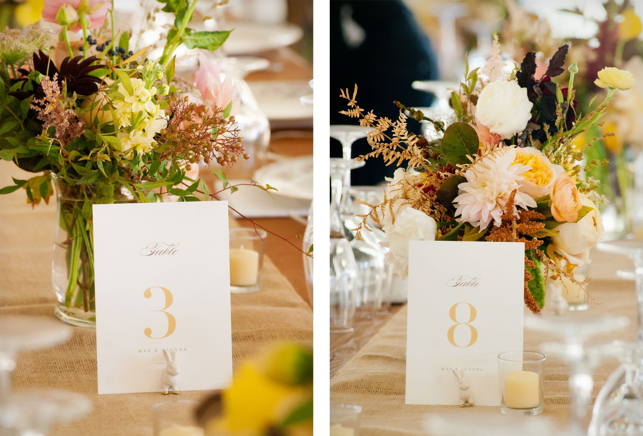 table numbers and all reception centerpiece