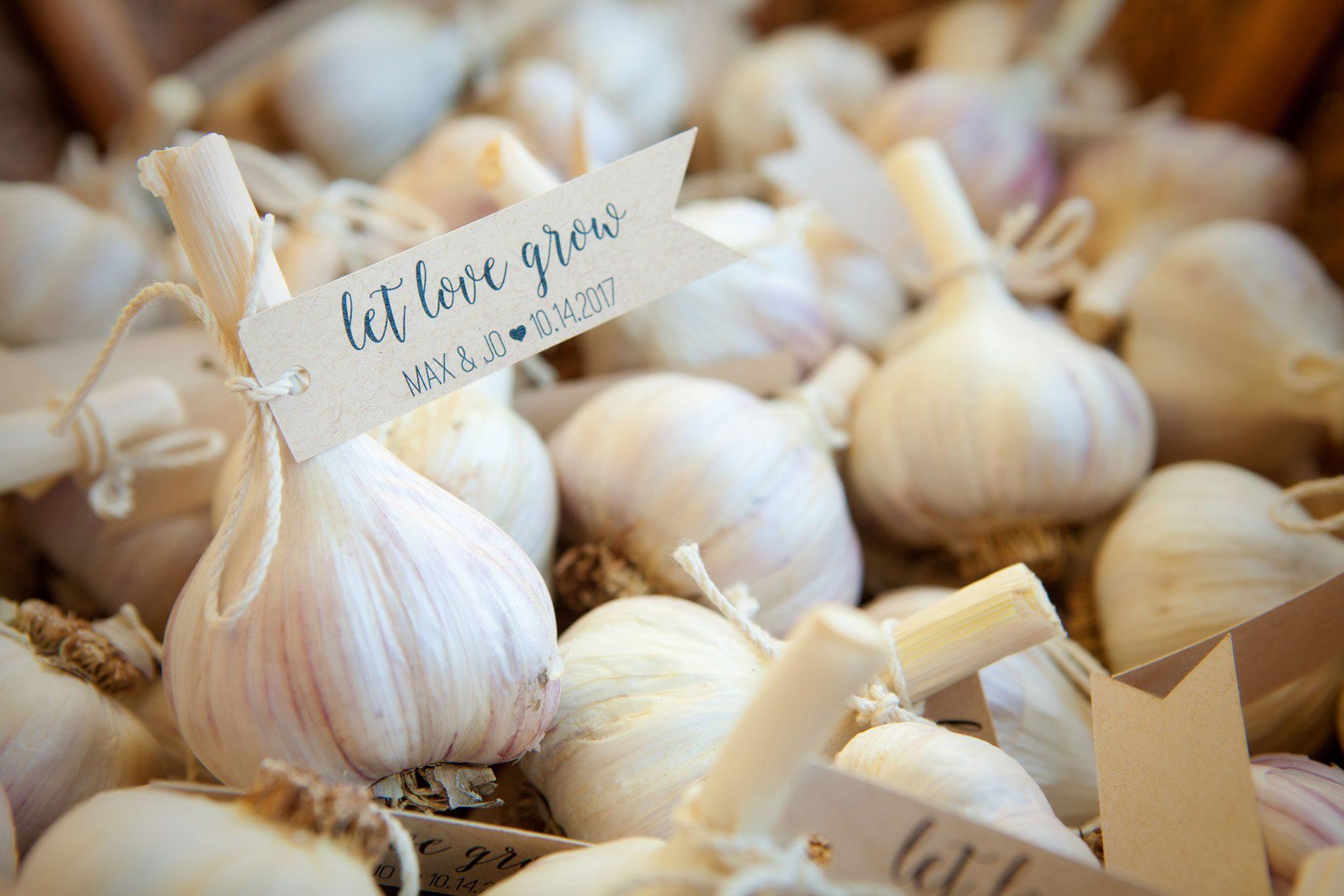 homegrown garlic wedding favros from the garden