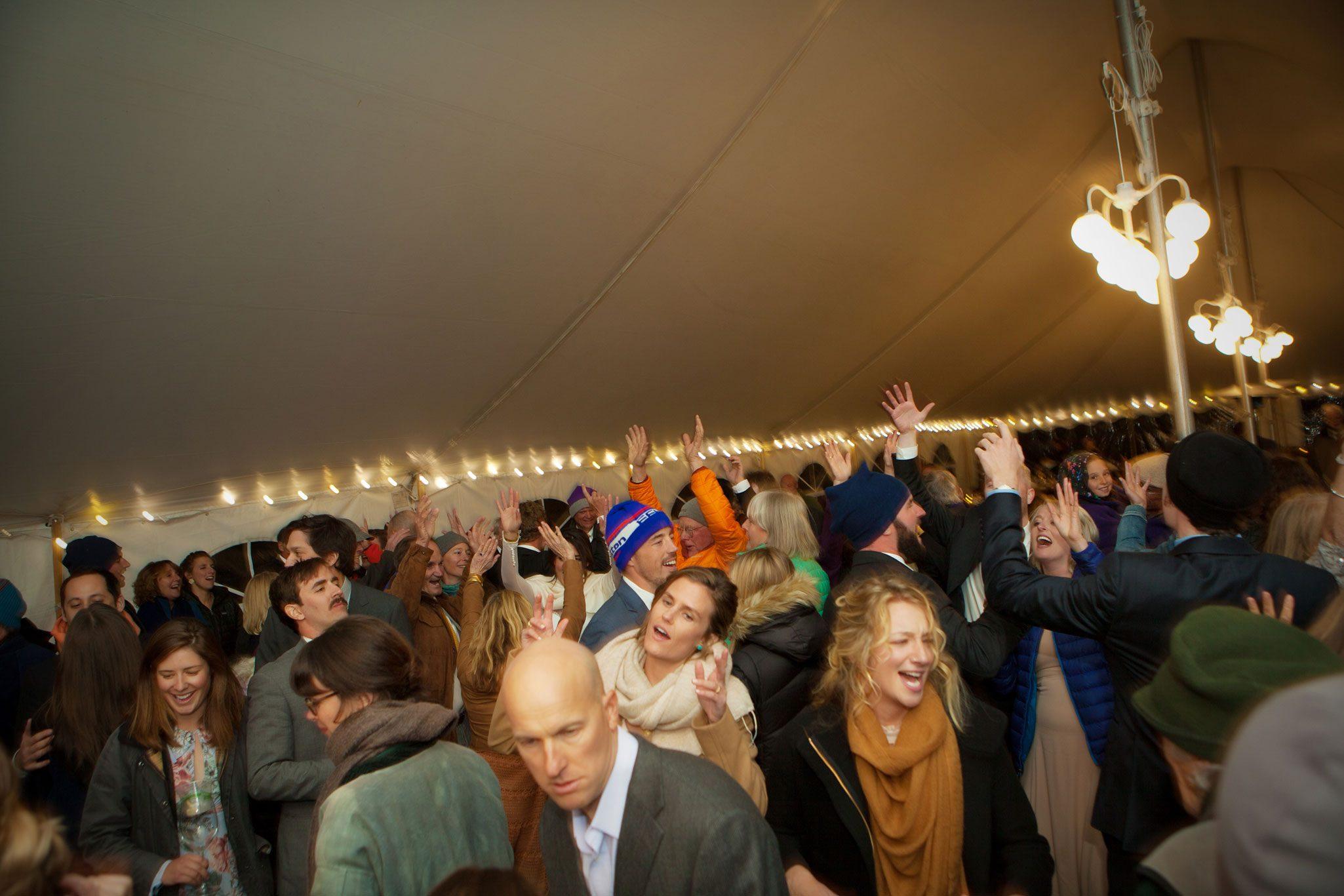 Dance party under a tent