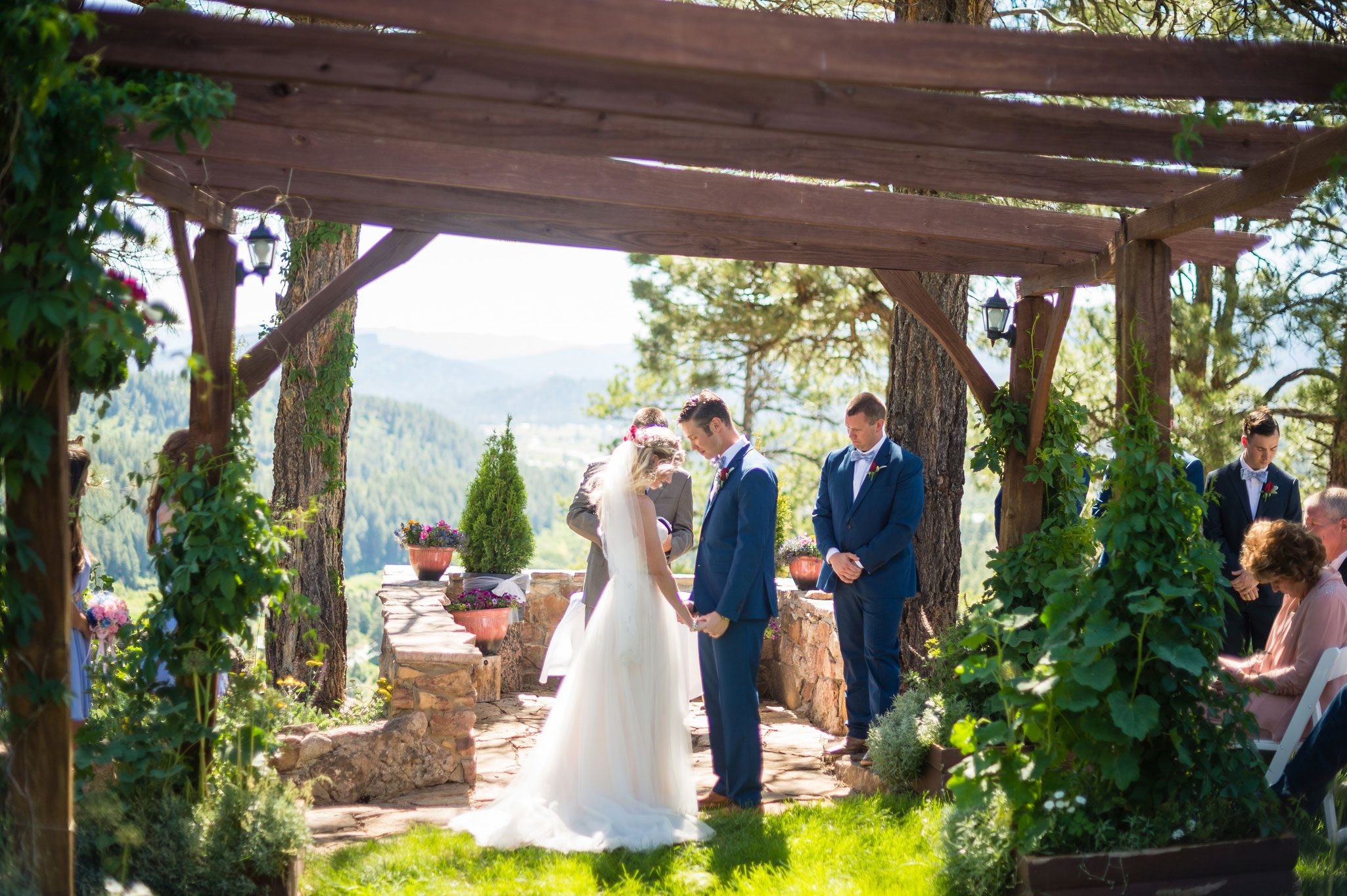Outdoor ceremony with a vintage bike theme in the mountains of Pagosa Spring, Colorado