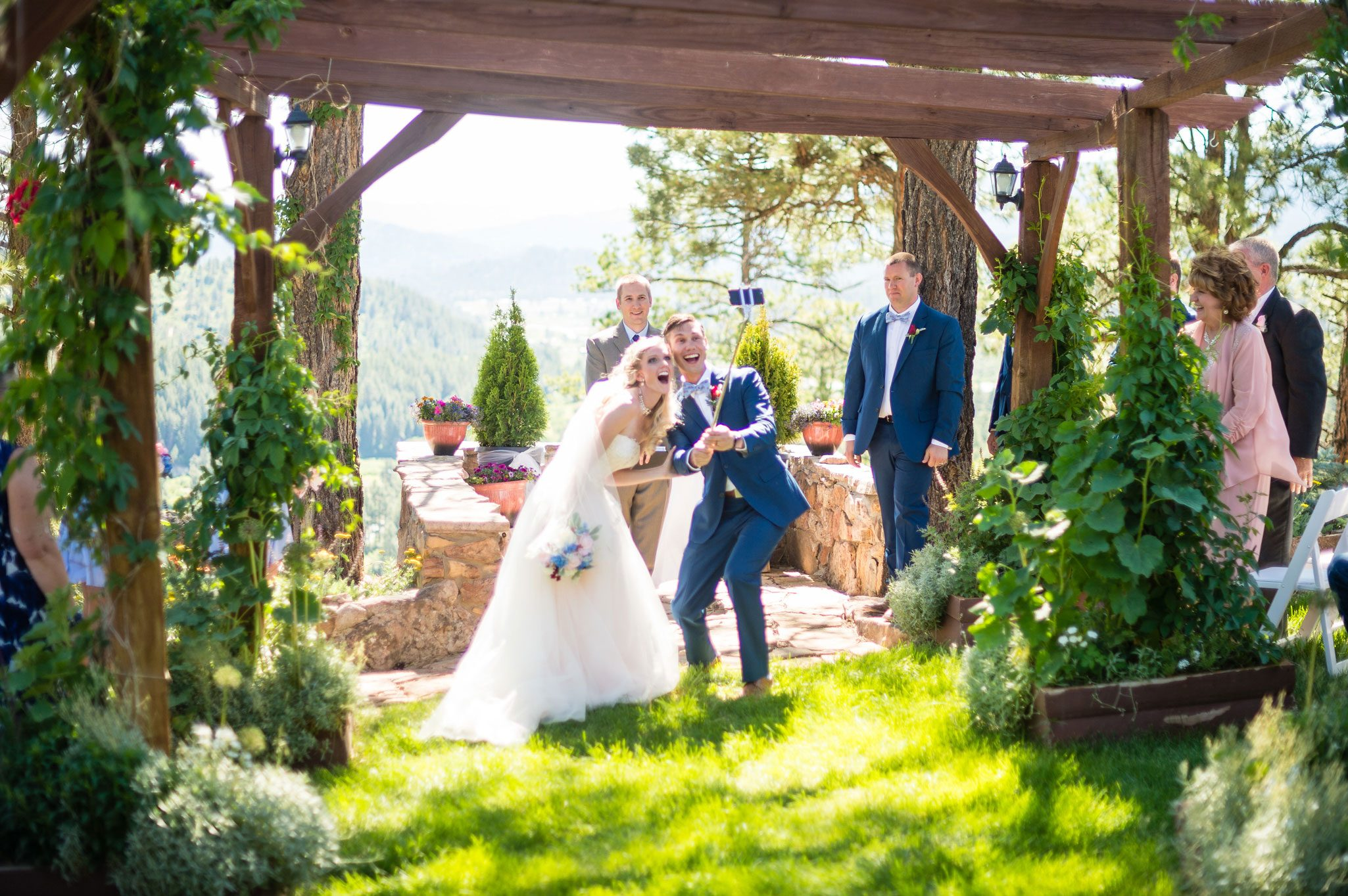 Selfie Fun | Destination wedding with a vintage bike theme in the mountains of Pagosa Spring, Colorado