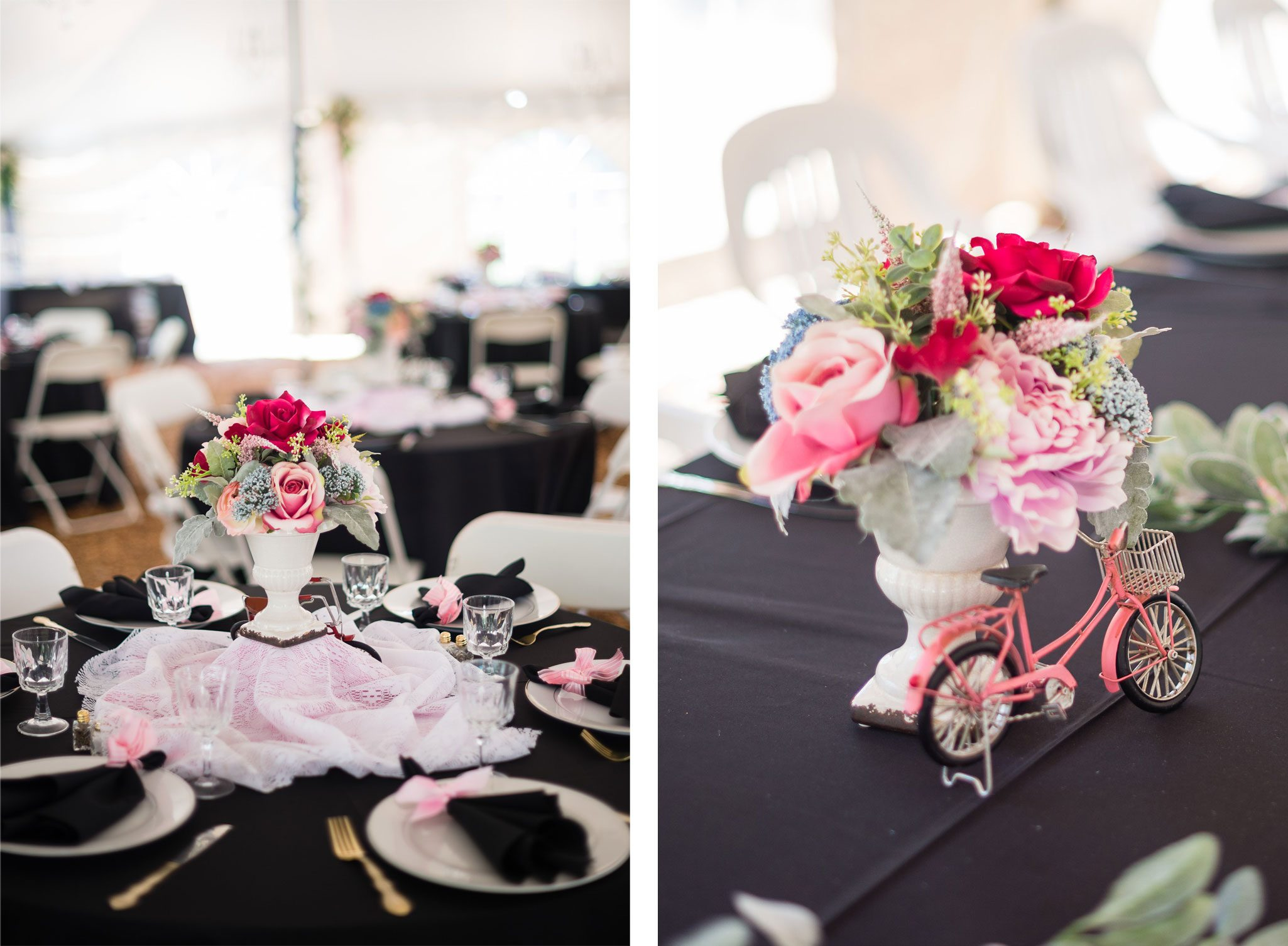 Vintage + bike themed wedding reception tables