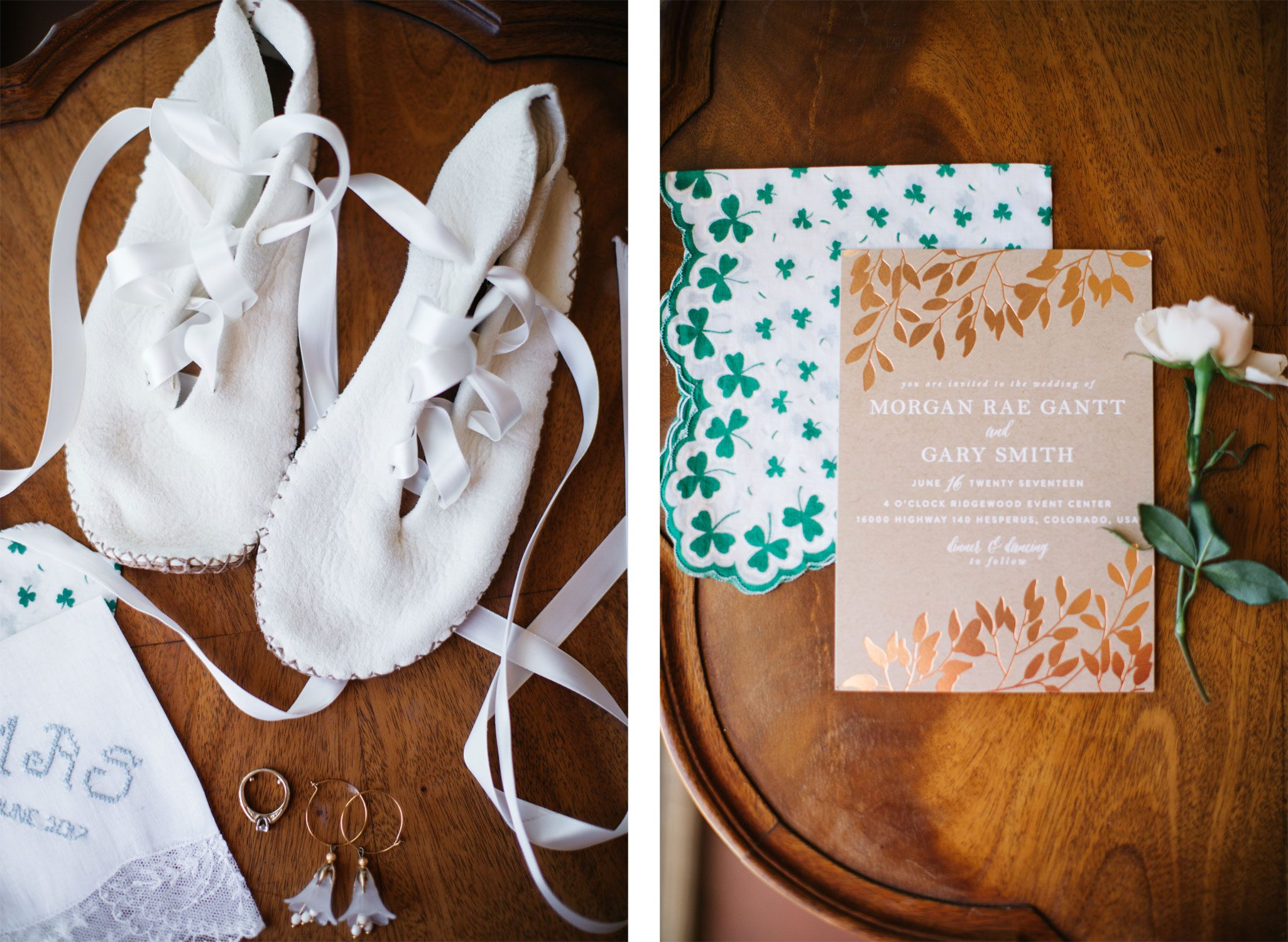 Custom shoes and invitations from a mountain wedding in Durango, Colorado