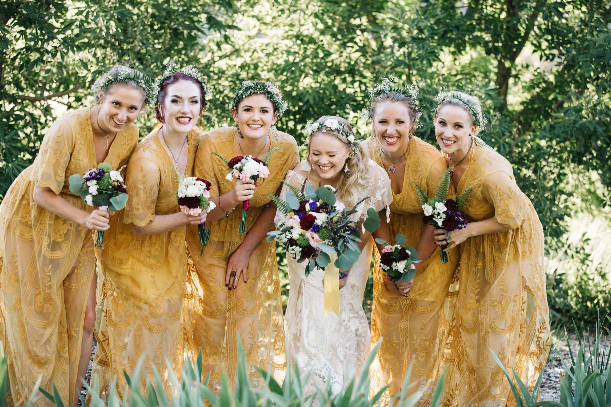 Bridesmaids in yellow from a mountain wedding in Durango, Colorado