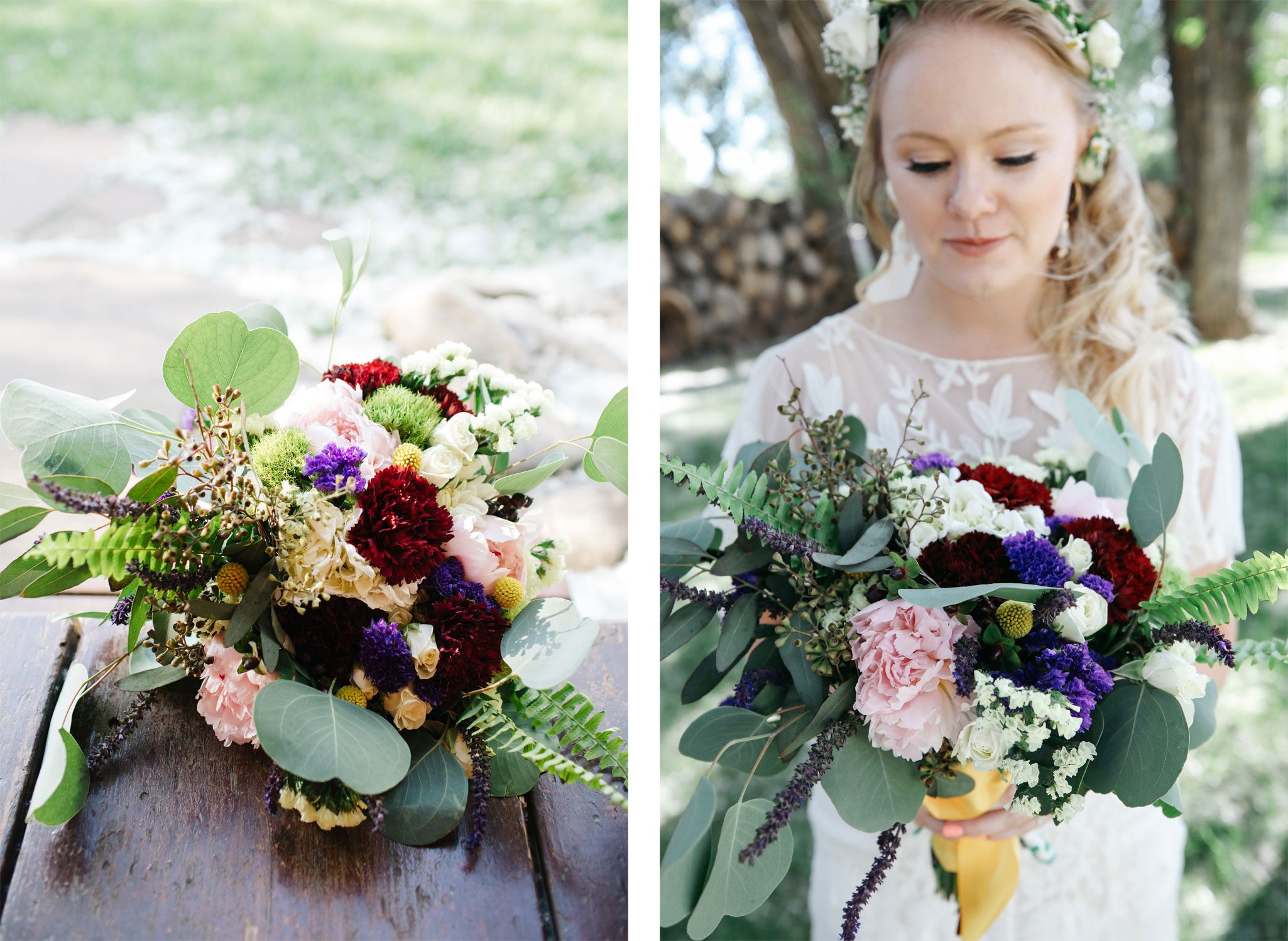 A beautiful floral bouquet from a mountain wedding in Durango, Colorado