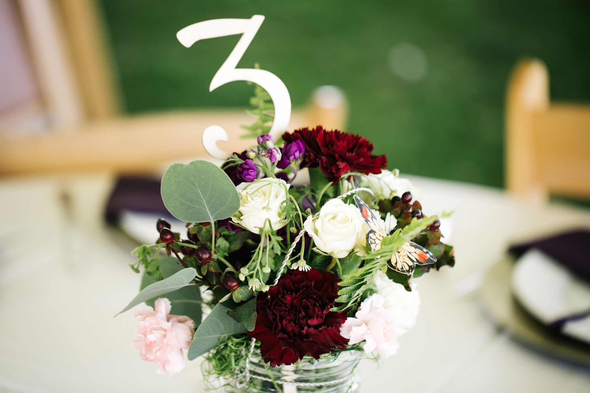 Floral centerpiece at Ridgewood Event Center in Durango, Colorado