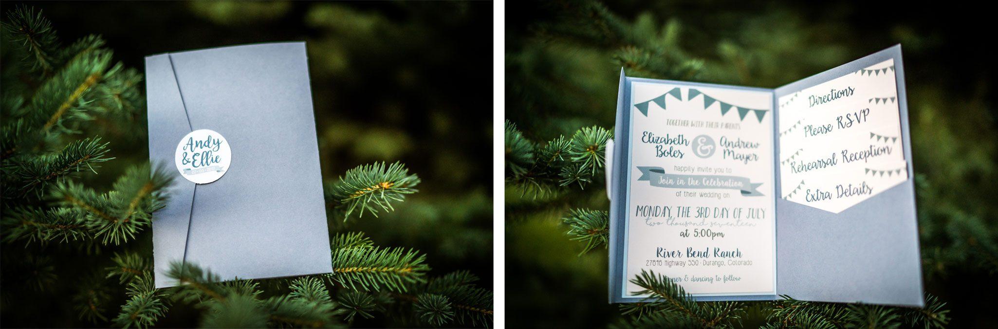 Invitations   Weddings at River Bend Ranch, Durango