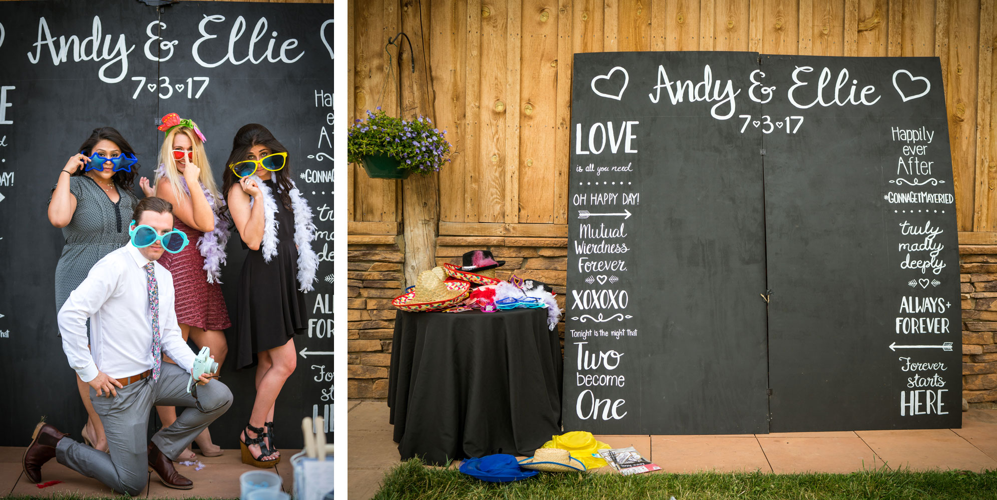 Photo backdrop   Weddings at River Bend Ranch, Durango