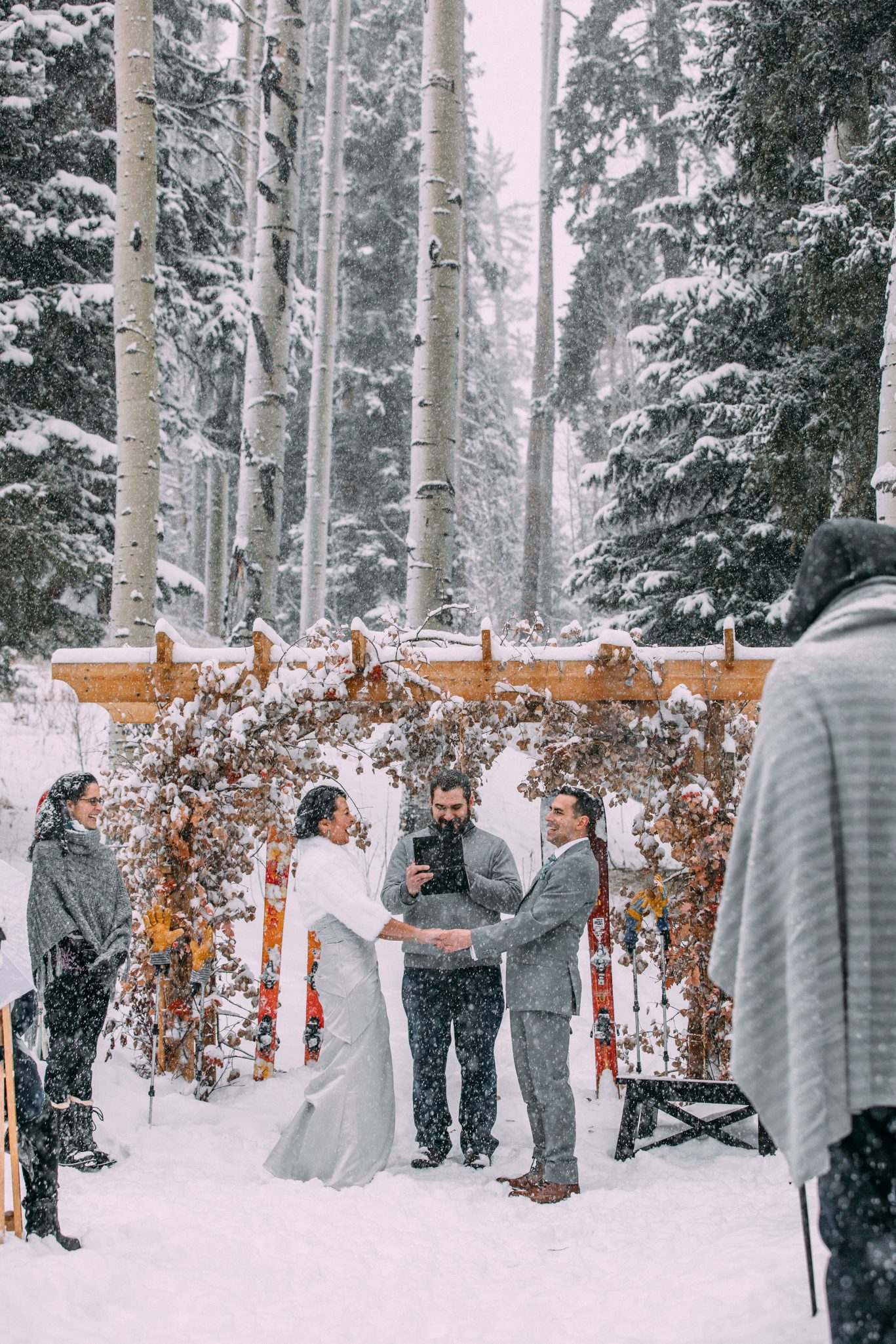 A Winter ceremony in the Snow at Silverpick Lodge, Durango Colorado