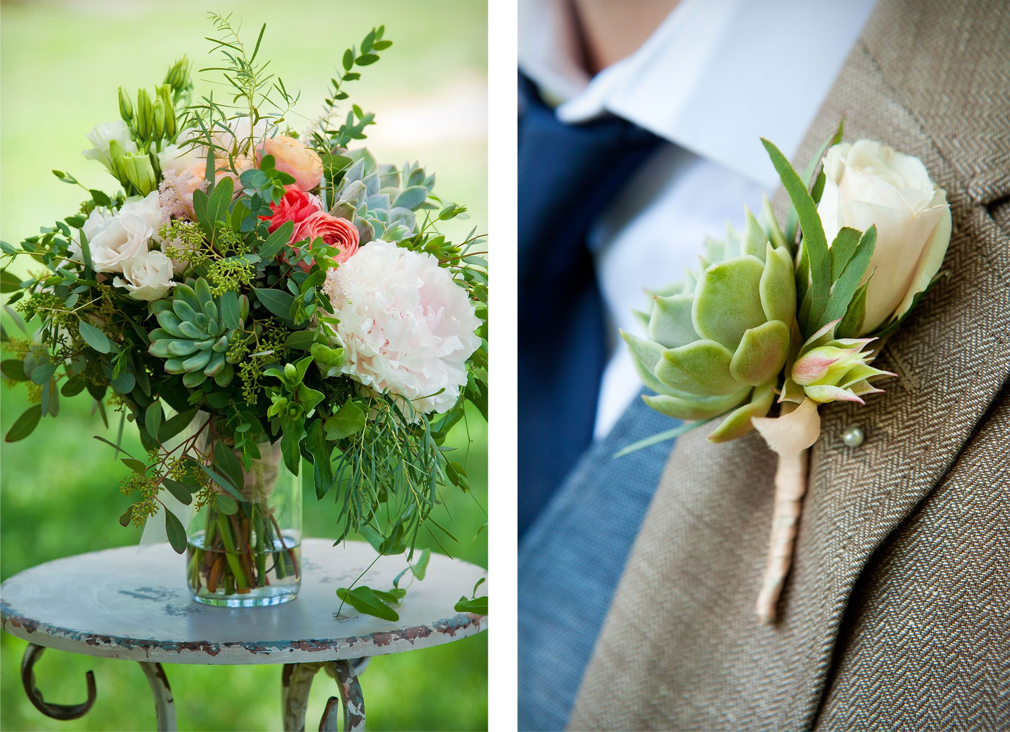 Wedding bouquet and boutonnière with succulents, roses, peonies