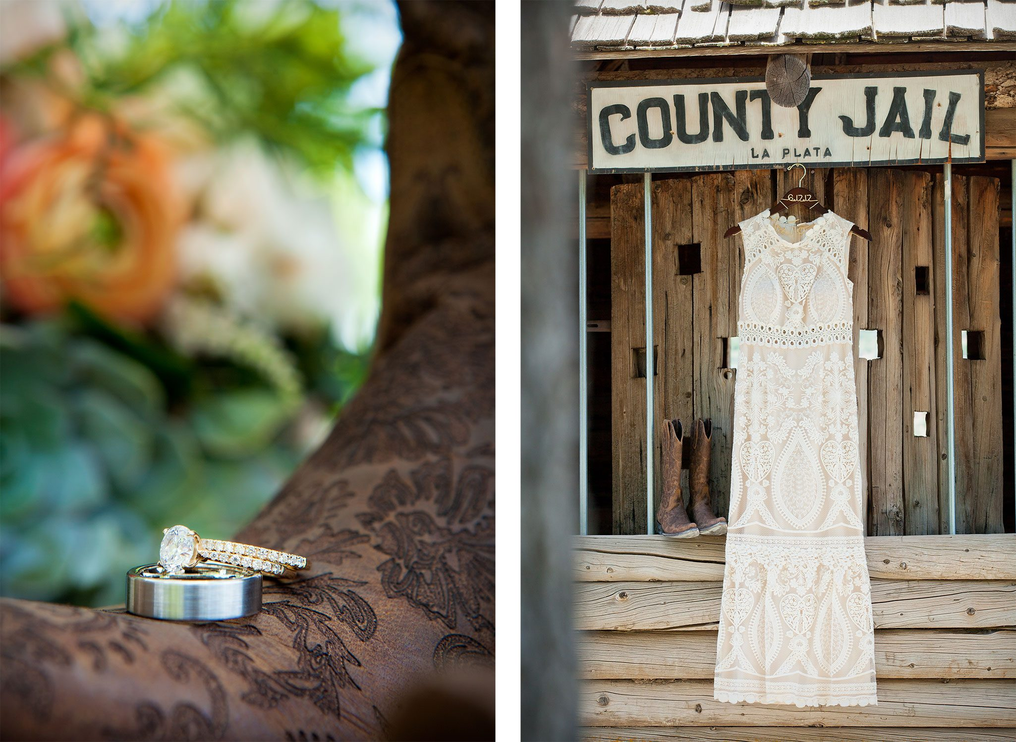 Rustic cowboy boots, ring, wedding dress hanging in old jail building