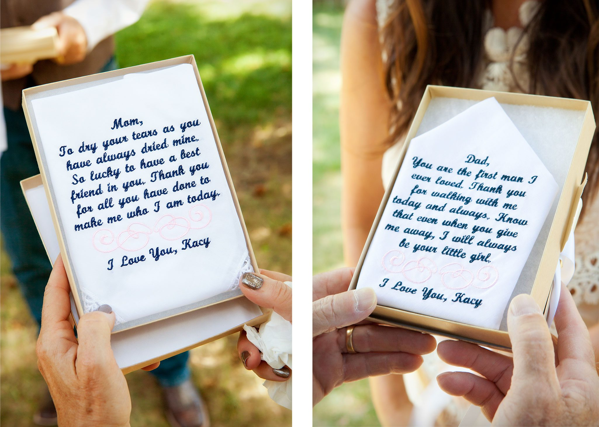 Embroidered Handkerchiefs for mom and dad from bride