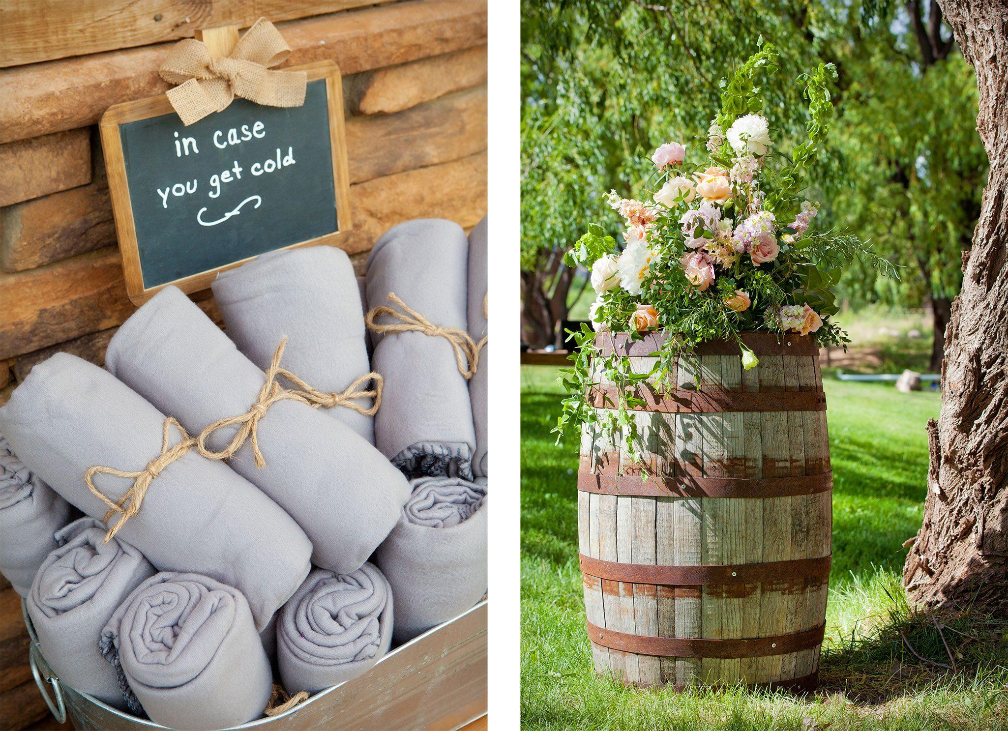 wedding bouquet on wine barrel. Fleece blankets for ceremony