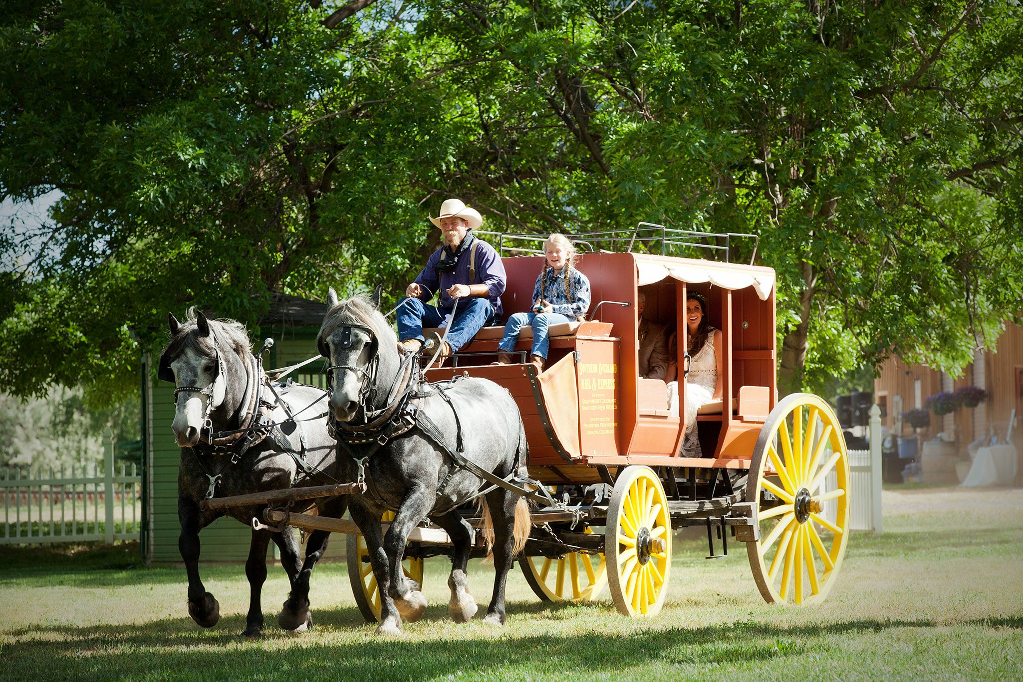 Bride and dad arriving to ceremony via old west stage coach - Durango, Colorado