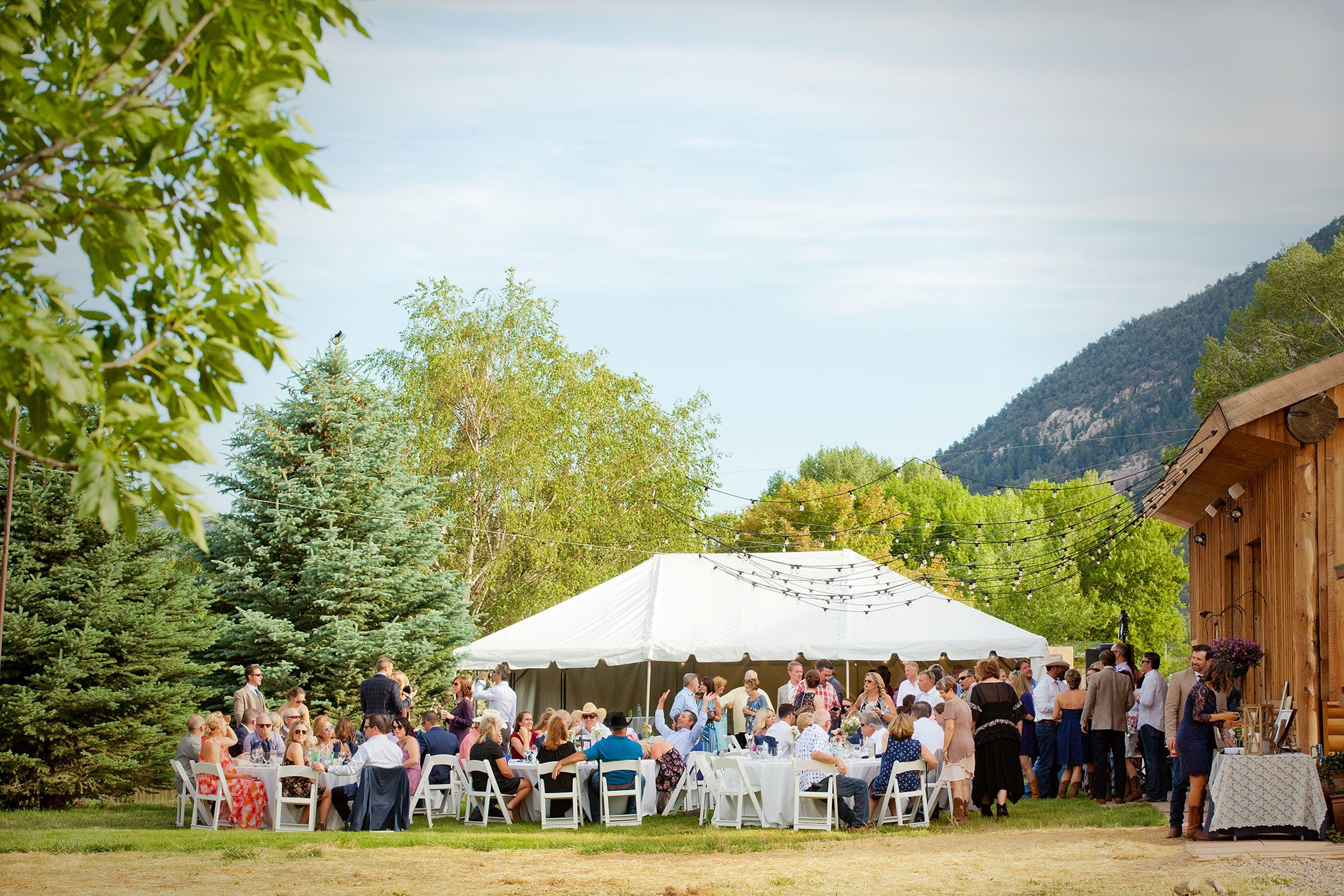outdoor wedding reception in the mountains