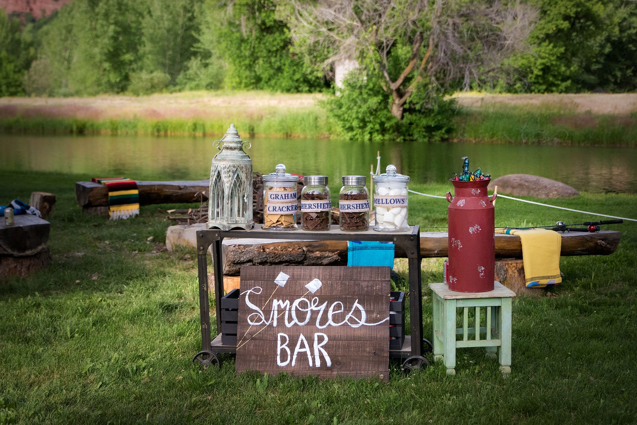Rustic DIY Smore's Bar at Wedding Reception