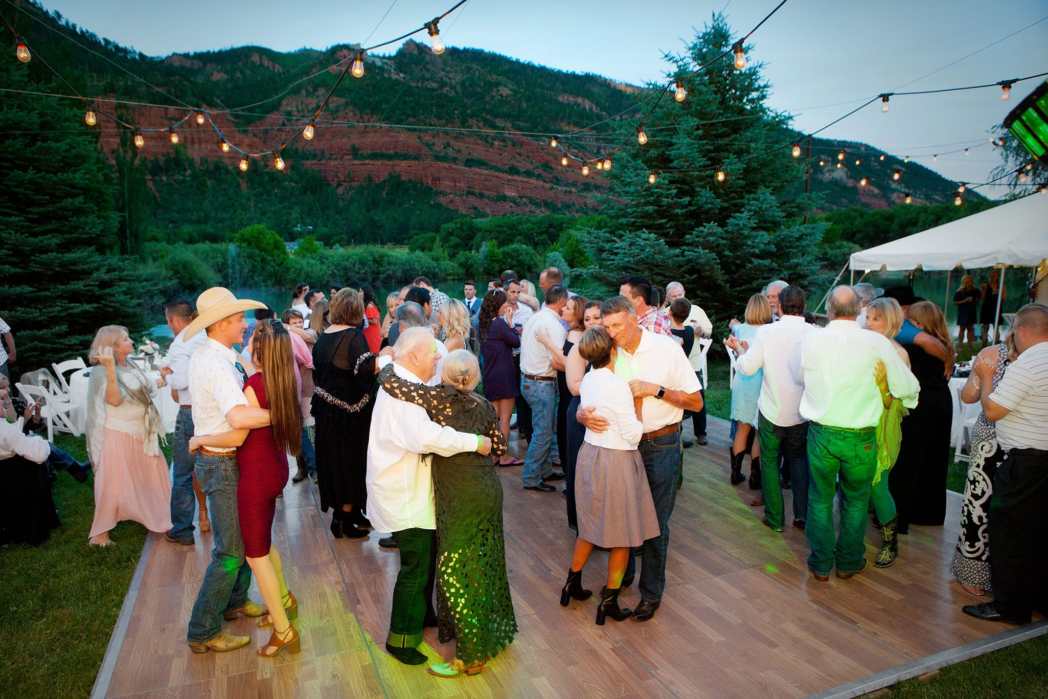 Wedding reception dancing outdoors under the stars
