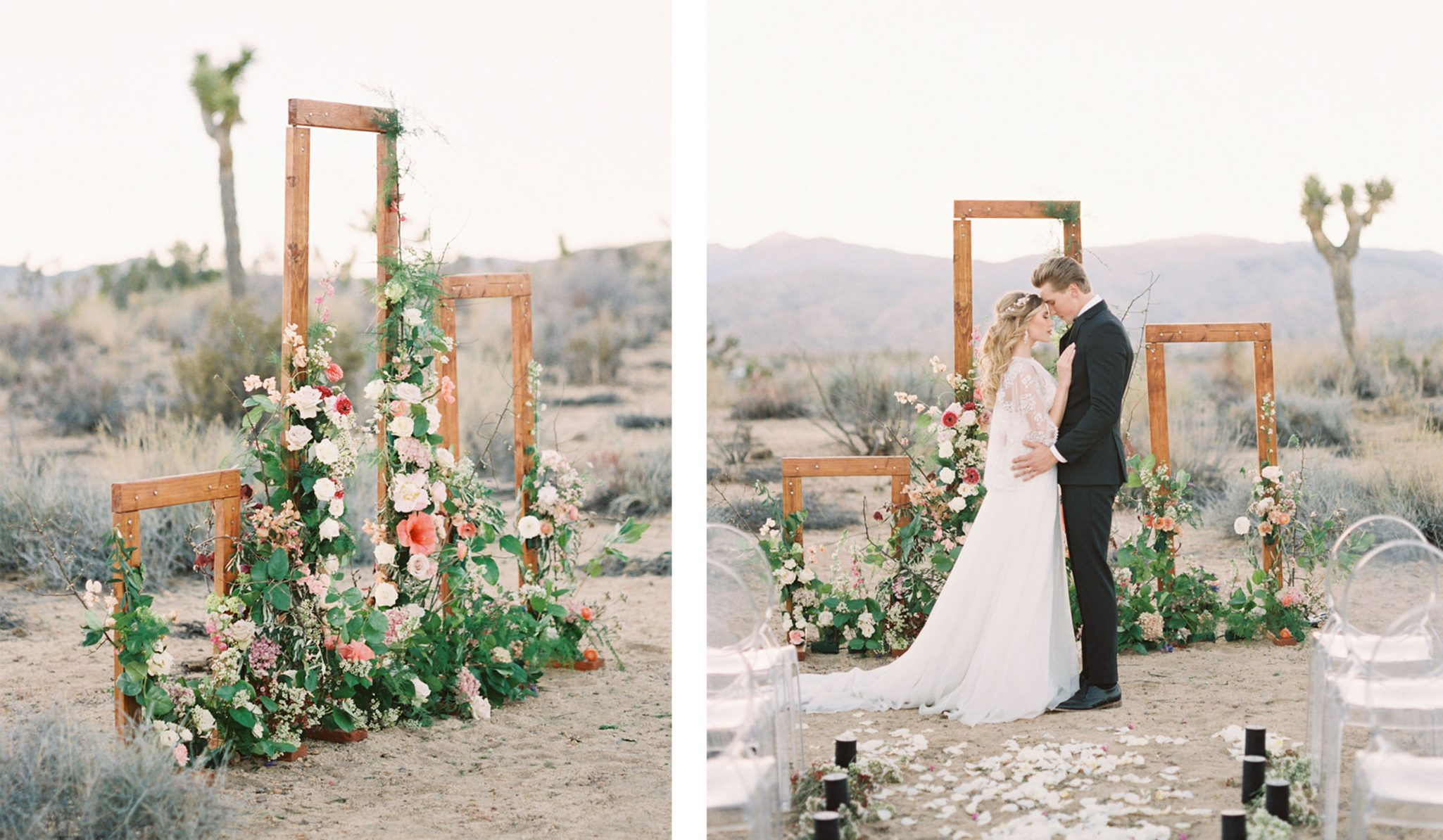 Trio of wooden ceremony frames