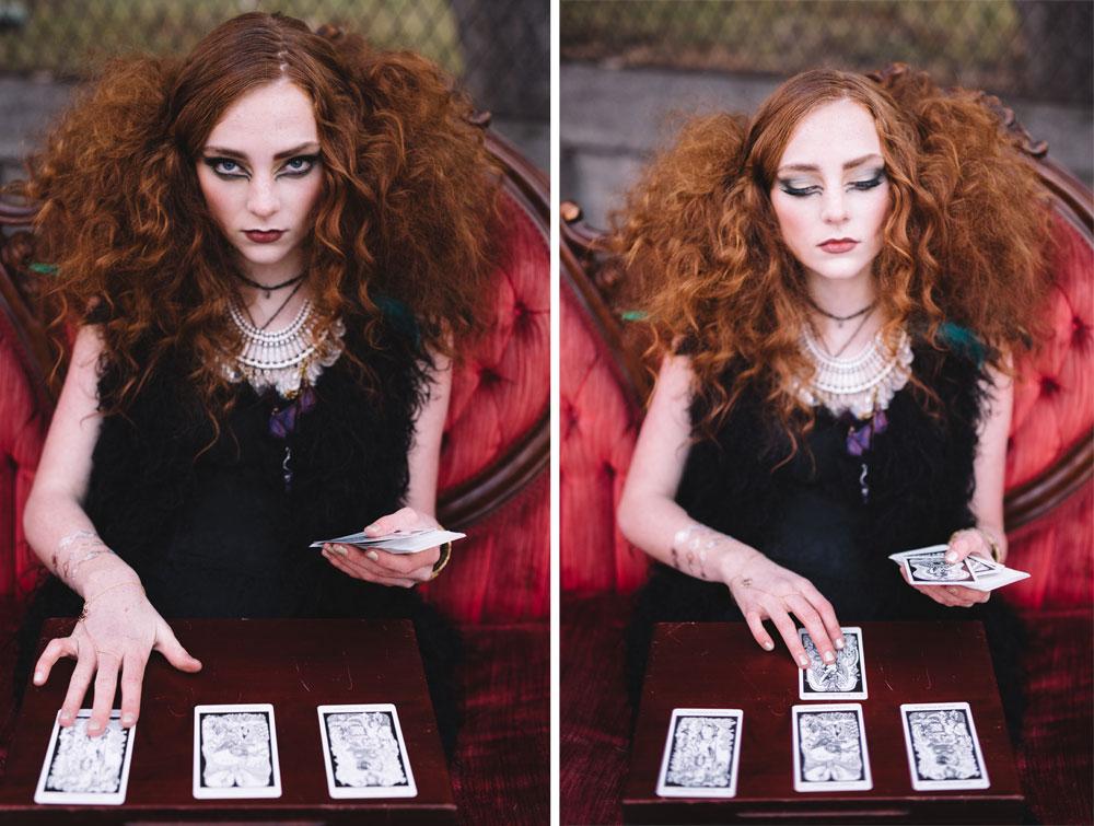Reception entertainment with a tarot card reader