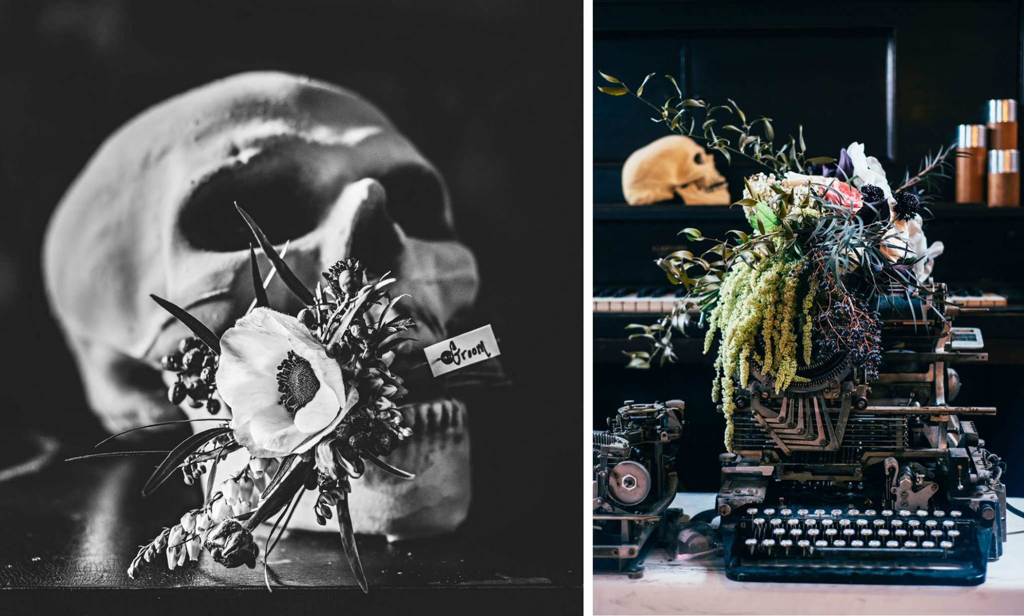 Table decor with black florals, skulls, tarot cards and spirit boards
