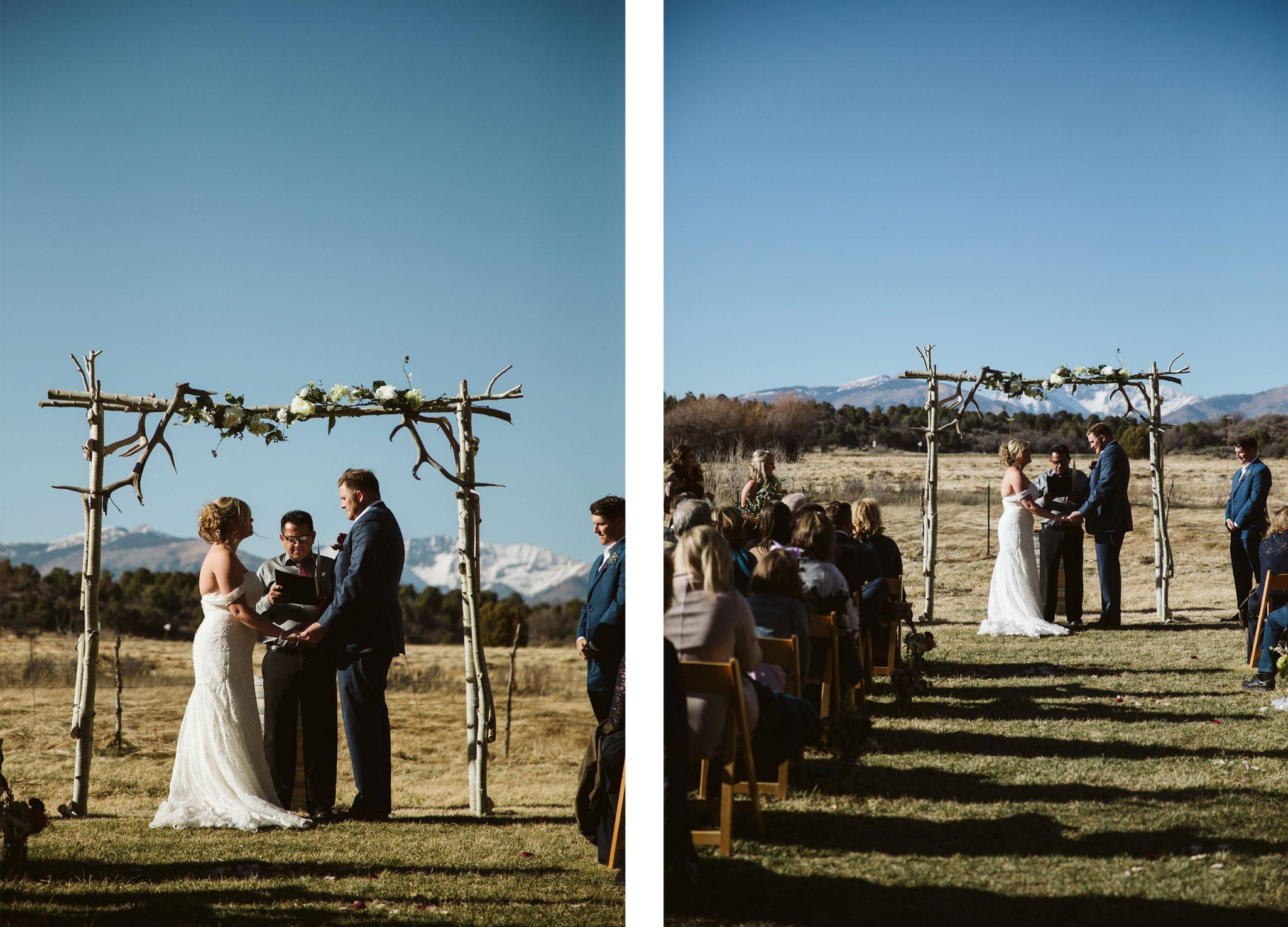 Outdoor ceremony at Ridgewood Event Center via Durango Weddings Magazine